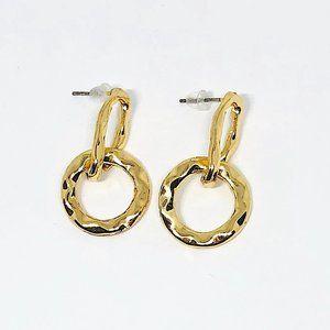 New! Modern Textured Linked Hoop Earrings Gold